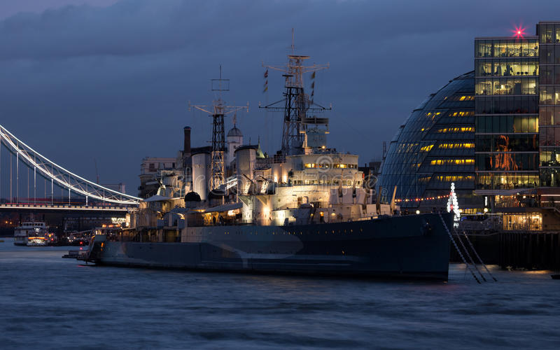 HMS Belfast at night stock photos