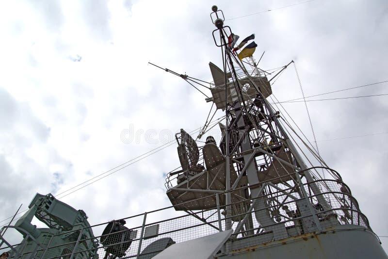 HMS Belfast Radio Tower royalty free stock image