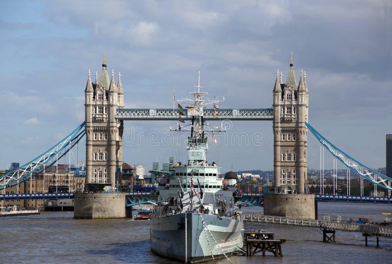 HMS Belfast and Tower Bridge stock photos