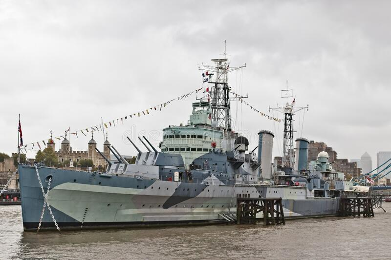 HMS Belfast war ship on the Thames river in London, United Kingdom. LONDON, UNITED KINGDOM - Oct 03, 2019: HMS Belfast war ship on the Thames river in London royalty free stock images