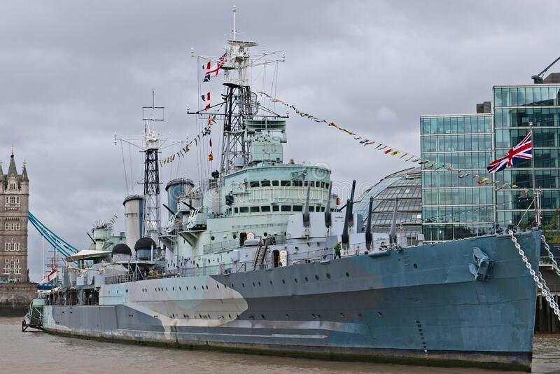 HMS Belfast war ship on the Thames river in London, United Kingdom. LONDON, UNITED KINGDOM - Oct 03, 2019: HMS Belfast war ship on the Thames river in London royalty free stock photography