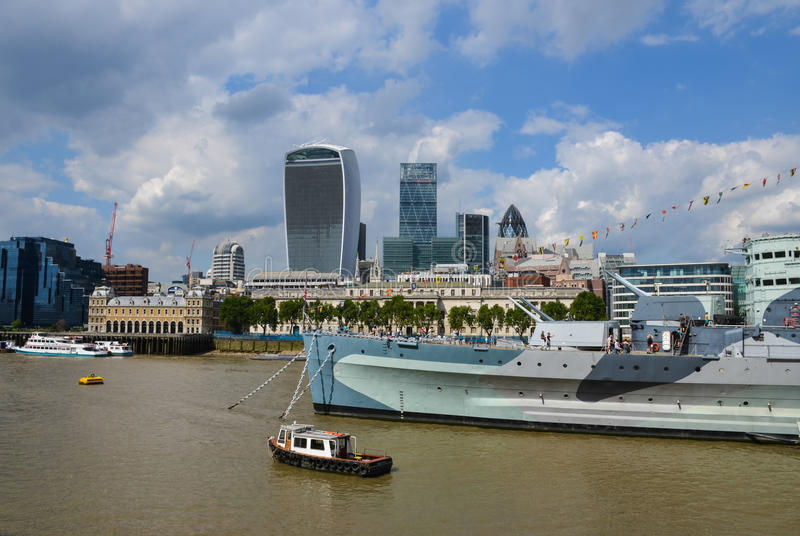 The HMS Belfast warship. Moored on the river Thames in London, UK royalty free stock photo
