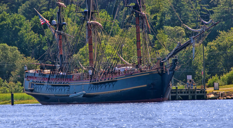 HMS Bounty. The HMS Bounty tall ship is docked at Maine Maritime Museum in July, 2009 in Bath, Maine. The ship sank off the coast of North Carolina during stock images