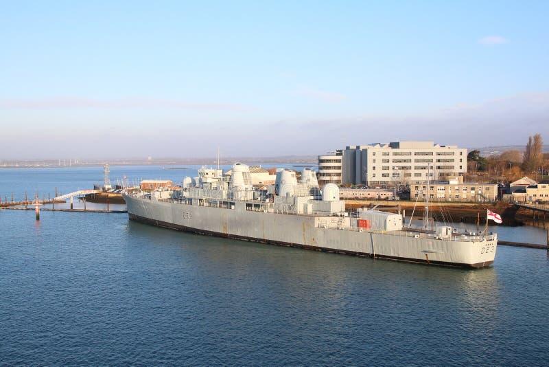 HMS Bristol in de haven Gosport van Portsmouth stock afbeeldingen