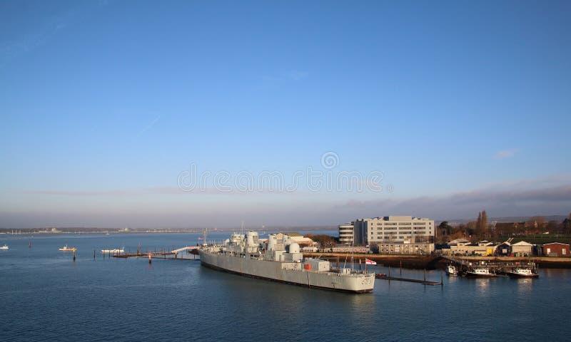 HMS Bristol in de haven Gosport van Portsmouth stock fotografie