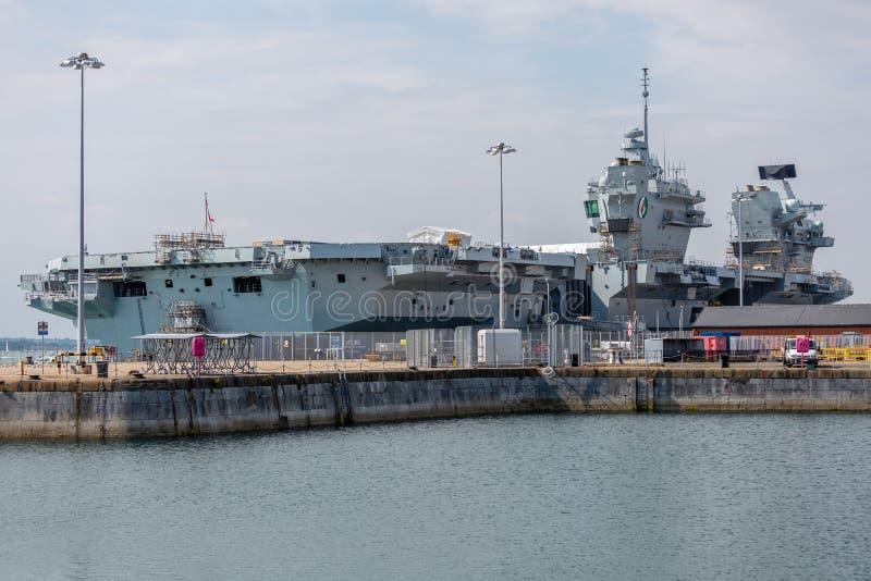 HMS Queen Elizabeth II Aircraft Carrier stock images