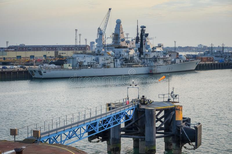 HMS Royal Navy Warship. 18.05.19 Portsmouth, Hampshire, England, UK, On ferry at Portsmouth waiting to leave with a royal navy frigate in the foreground stock images