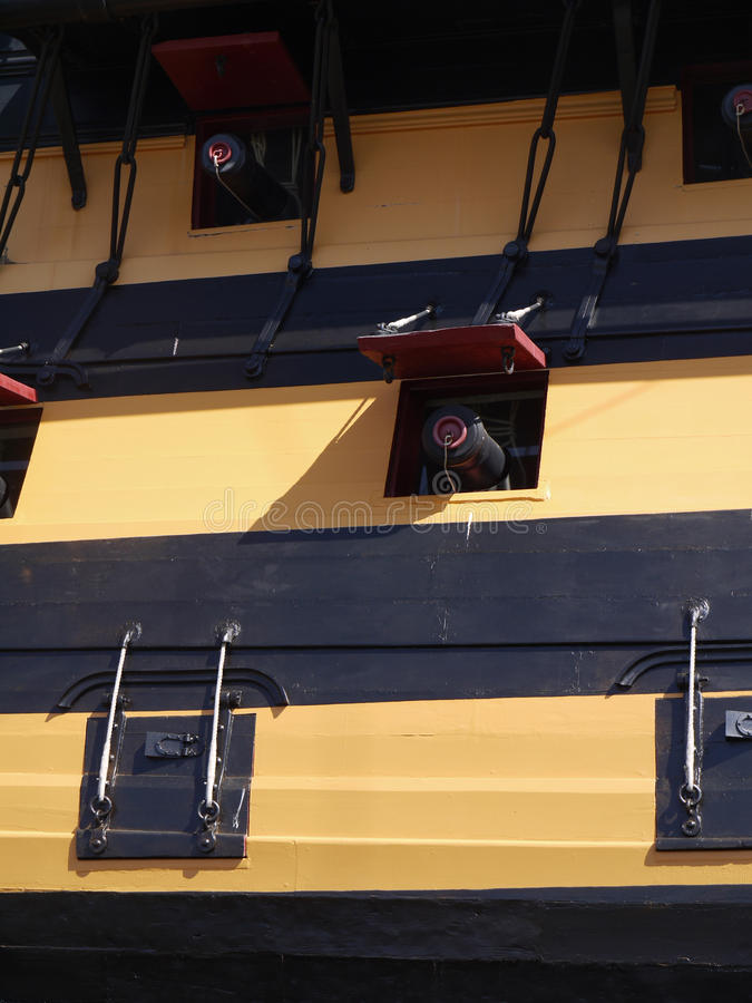 HMS Victory gun ports. HMS Victory showing open gun ports in gun deck, on black and cream/yellow paint stock image