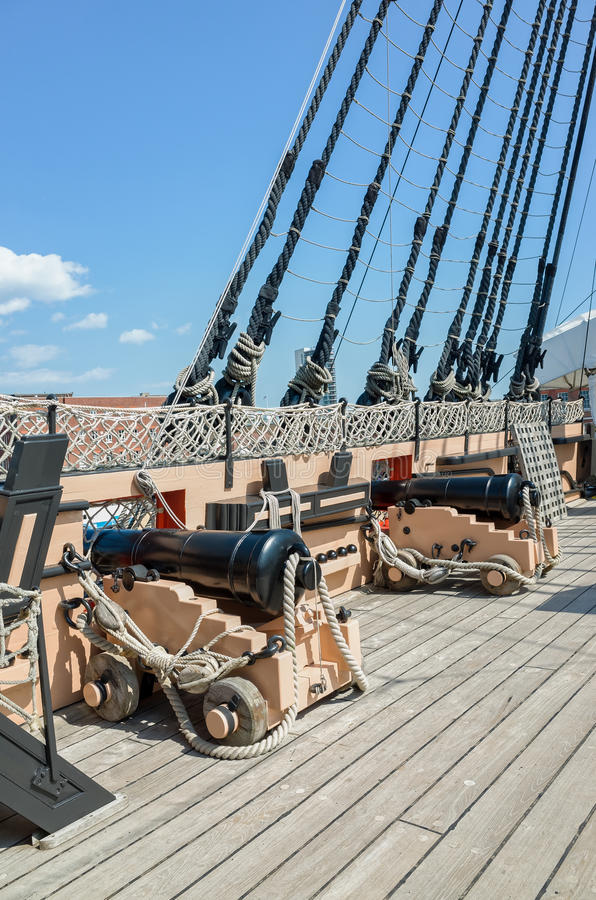 Cannons on HMS Victory Portsmouth England stock photo