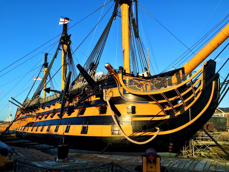 HMS Victory Portsmouth Harbour, England, United Kingdoms royalty free stock image