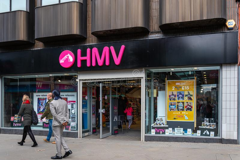 HMV Store Swindon. Swindon, United Kingdom - May 04 2019:   The entrance to the HMV Music and Video store on Regent Street stock photography