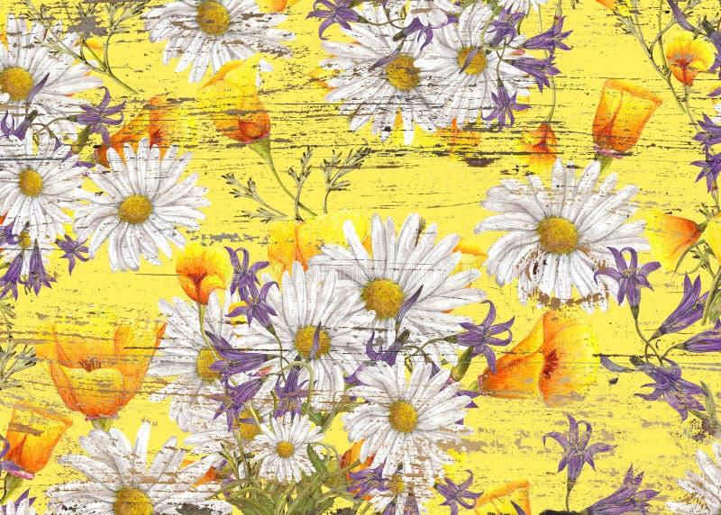 hnad在难看的东西纹理的被画的野花