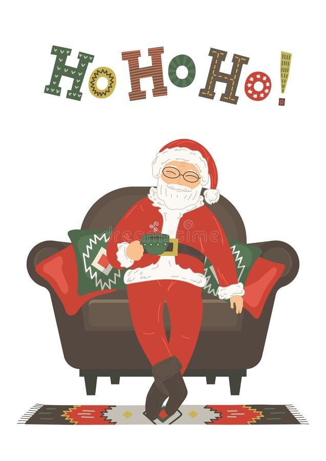 Ho ho ho! Święty Mikołaj napoju herbata ilustracji