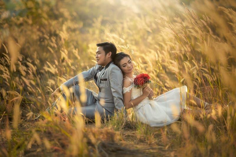 Ho appena sposato una coppia di hipster amatoriale in abito da sposa e vestito in campo fotografie stock libere da diritti