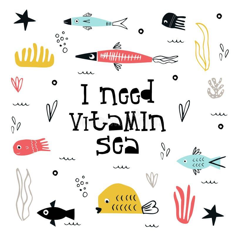 Ho bisogno del manifesto marino dei bambini dell'estate della vitamina con un pesce, le meduse e un'alga tagliati di carta e dell illustrazione vettoriale