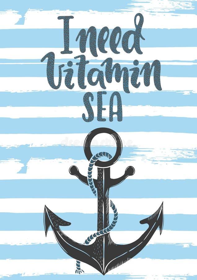 Ho bisogno del mare della vitamina royalty illustrazione gratis