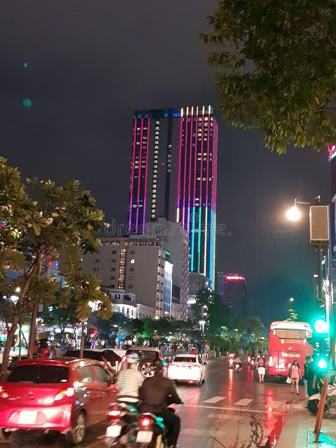 Ho Chi Min miasto Wietnam nocą zdjęcia royalty free