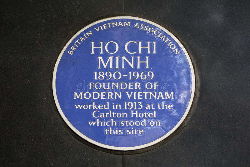 Ho Chi Minh Blue Plaque in Londen stock foto's