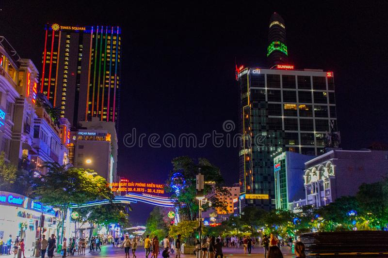 Ho Chi Minh City entro Night fotografie stock