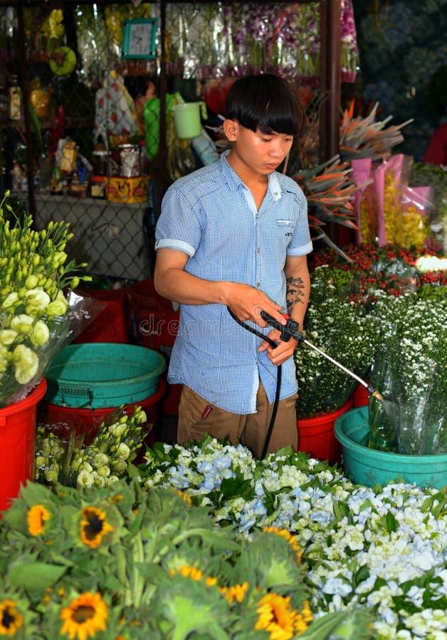 Ho Chi Minh City Flower marknad i otta fotografering för bildbyråer