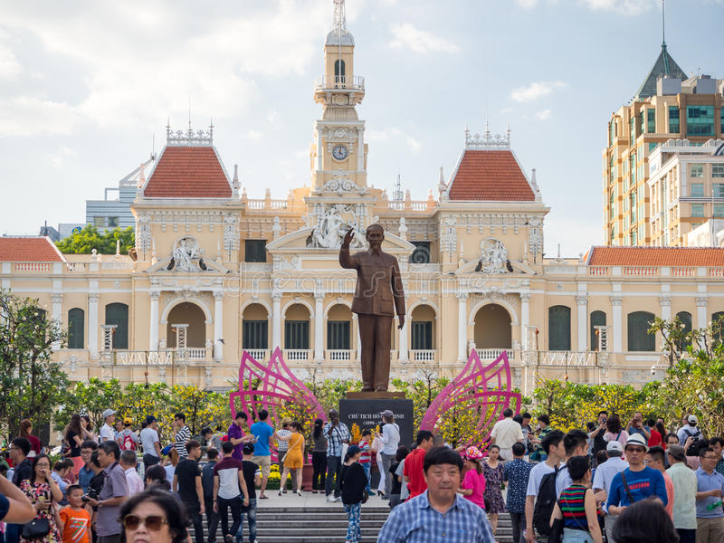 Ho Chi Minh city, Saigon, South Vietnam: [ Ho Chi Minh city hall during Cinese New Year celebrations, decoration in stock photography