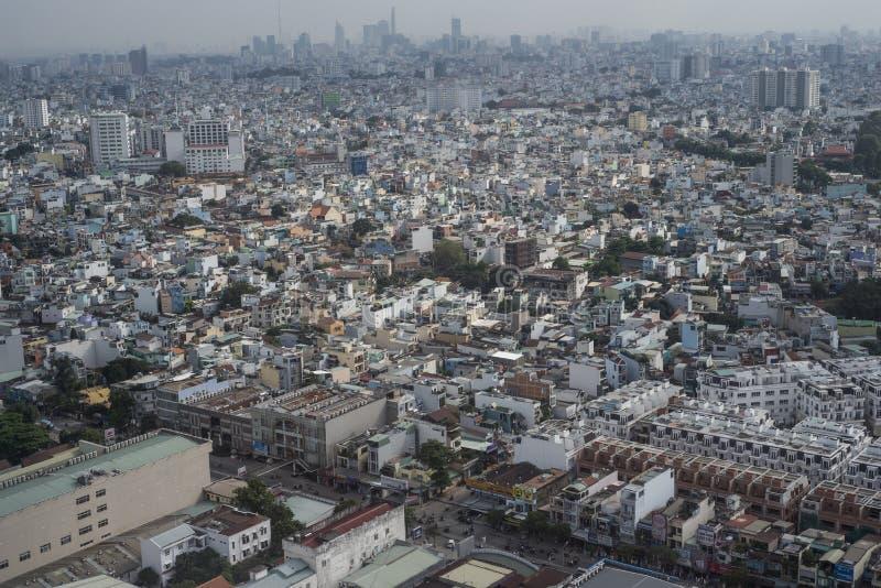 Ho Chi Minh City Saigon, Vietname, visto de um plano aproximadamente para aterrar foto de stock