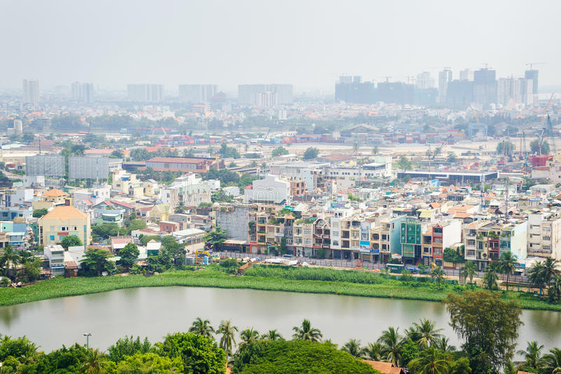 Ho Chi Minh city skyline in early morning foggy, Vietnam. royalty free stock photo