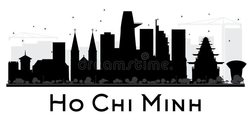 Ho Chi Minh City-Skylineschwarzweiss-Schattenbild stock abbildung