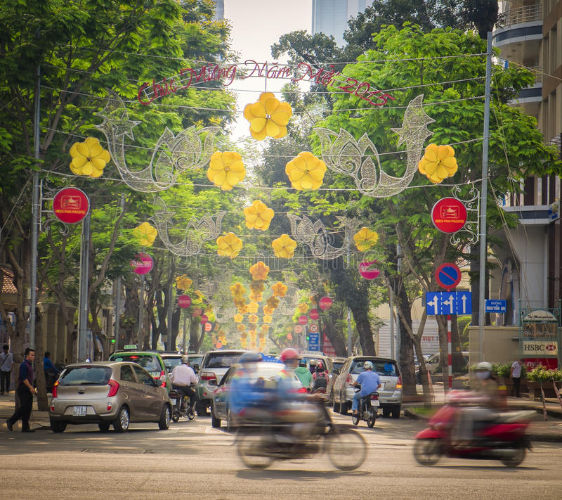 Ho Chi Minh City Street Vietnam arkivfoto