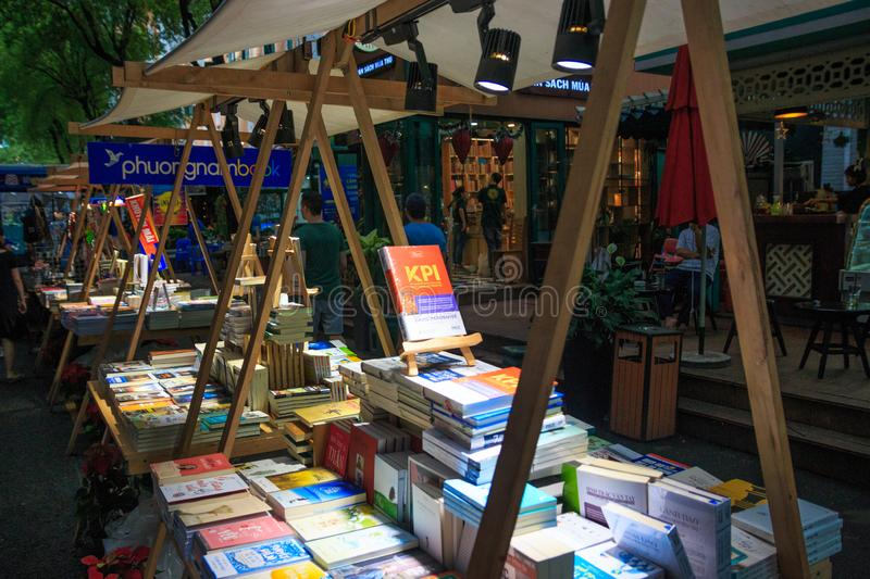 Ho Chi Minh city, Vietnam - December 2018: books on the market at the center of the city. royalty free stock photo