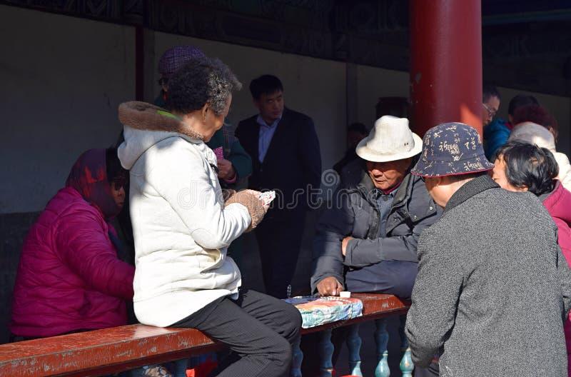 Ho Chi Minh City, Vietnam, il 30 marzo 2019: Giochi con le carte vietnamiti del gioco sulla via immagine stock libera da diritti