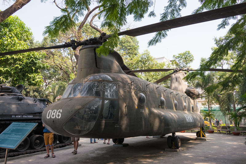 Ho Chi Minh City, Vietnam - Jan 27 2015: CH-47 Chinook at War Re. Mnants Museum. a famous Historical Museum in Ho Chi Minh City, Vietnam royalty free stock image