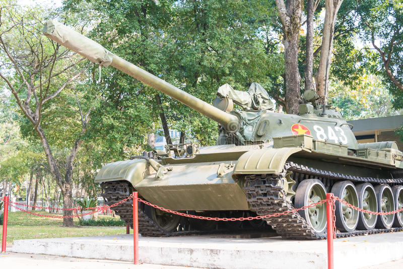 Ho Chi Minh City, Vietnam - Jan 26 2015: T-54 tank at Independence Palace. a famous Historical Museum in Ho Chi stock images
