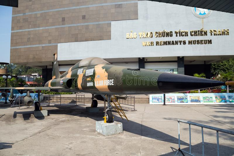Army plane US AIR FORCE near Saigon Remnants Museum captured during the war stock image
