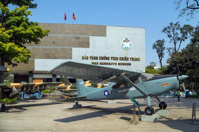 Army plane US AIR FORCE near Saigon Remnants Museum captured during the war royalty free stock photos