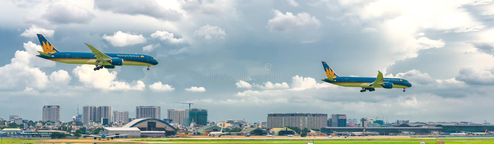 Ietnam airline boeing 787 landing at Tan Son Nhat International Airport. Ho Chi Minh City, Vietnam - July 29th, 2018: Vietnam airline boeing 787 landing at Tan stock photography