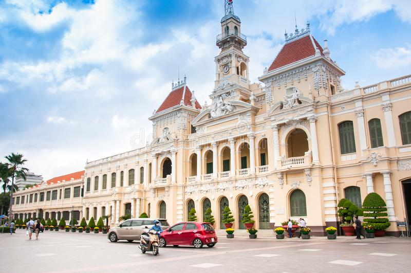 Ho Chi Minh City Vietnam, 26 12 2017 kommunfullmäktigebyggnad arkivfoto