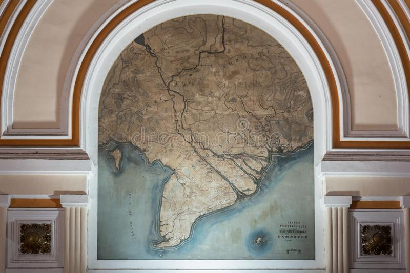 Ho Chi Minh City, Vietnam: a map of South Vietnam & Cambodia in French on wall of Saigon Central Post Office 1886-1891. `Sud Viet-Nam` seems to be written over stock photos