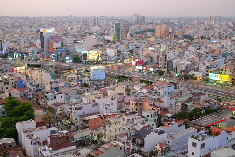 Ho Chi Minh city, Vietnam - 13 March 2014: Hang Xanh intersection flyover in twilight stock image