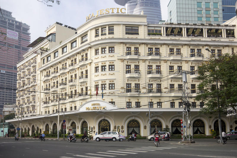 HO CHI MINH CITY, VIETNAM-NOV 3RD: The Hotel Majestic on November 3rd 2013. The Majestic was built in 1925 and is a 5 star hotel stock photo