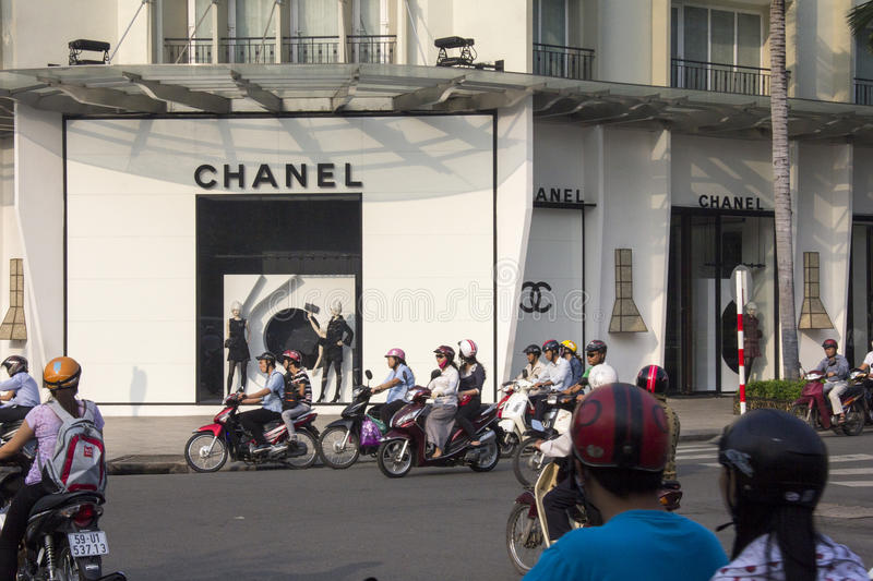 HO CHI MINH CITY, VIETNAM-OCT 29TH: The Chanel store on October. 29th 2013. The store located in the Rex hotel arcade is the first Chanel store in Vietnam royalty free stock photos