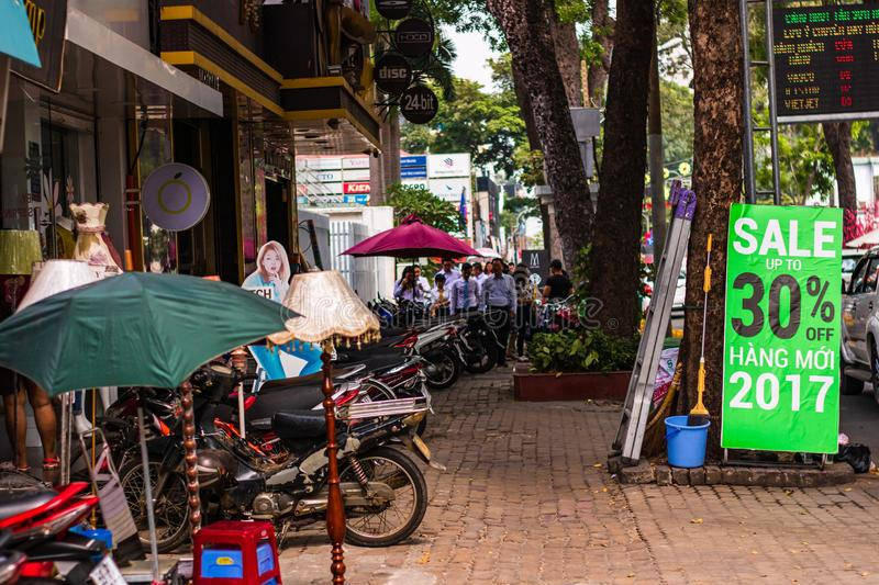 Ho Chi Minh City, Vietnam – 2019. Scooters parked on the streets in downtown Ho Chi Minh stock photography