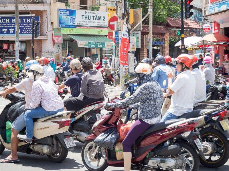 Ho Chi Minh City Vietnam - September, 2016: Trafikstockning arkivfoton