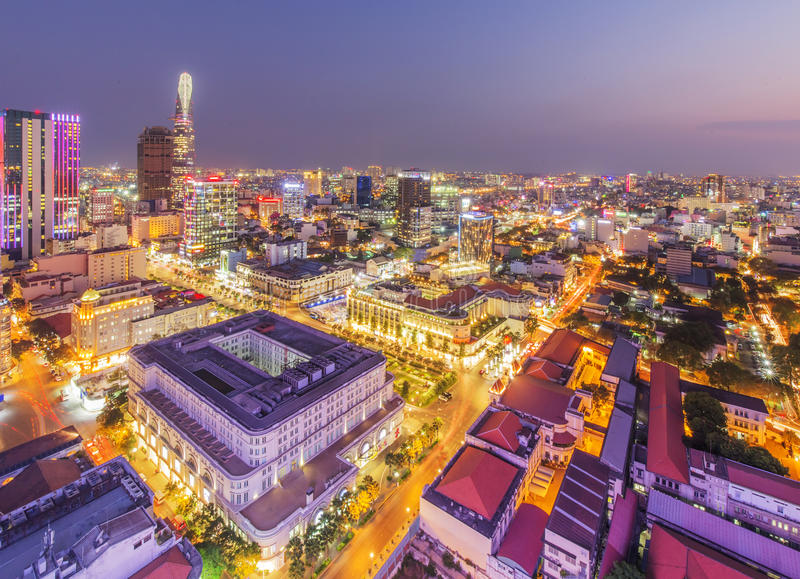 Ho Chi Minh city view from top of building royalty free stock photos