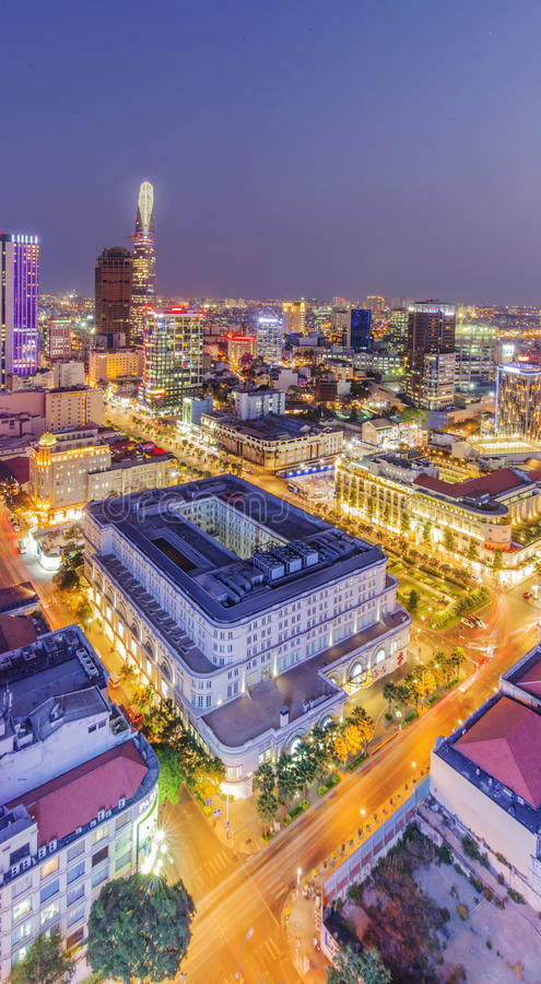 Ho Chi Minh city view from top of building stock photo