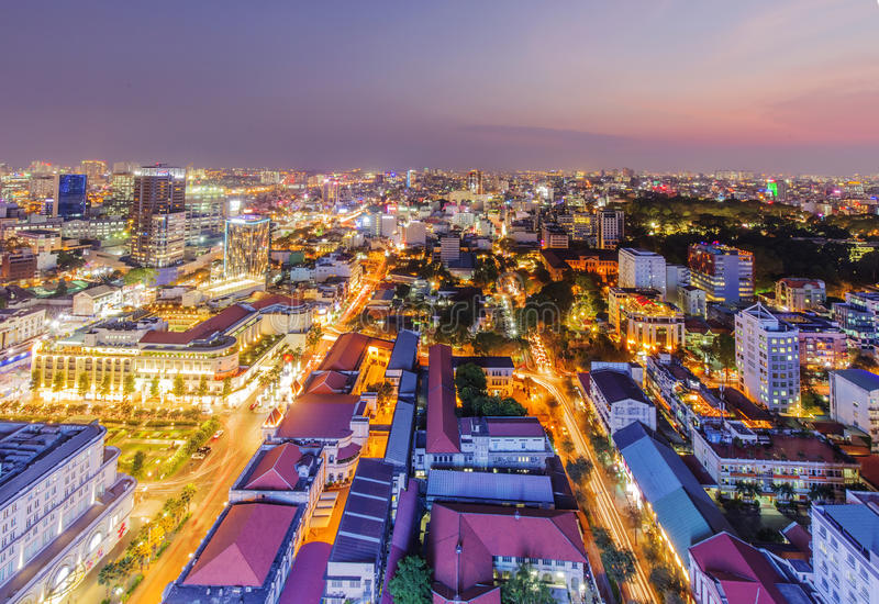 Ho Chi Minh city view from top of building royalty free stock photo