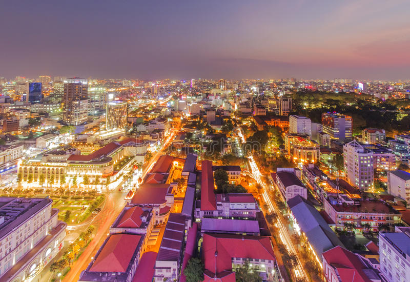 Ho Chi Minh city view from top of building stock photos