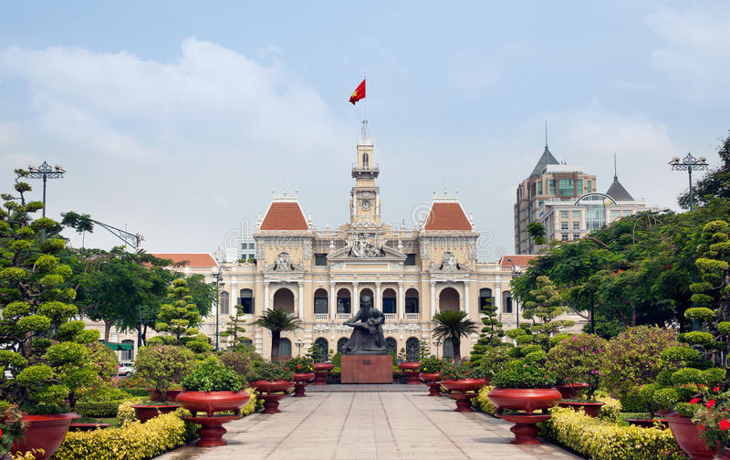 Ho Chi Minh Corridoio o Hotel de Ville de Saigon, Vietnam. immagini stock