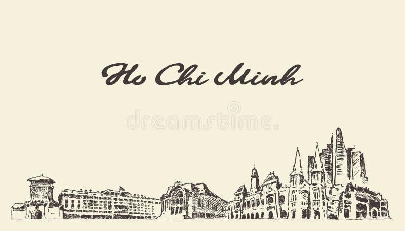 Ho Chi Minh-de getrokken schets van horizonvietnam vector royalty-vrije illustratie
