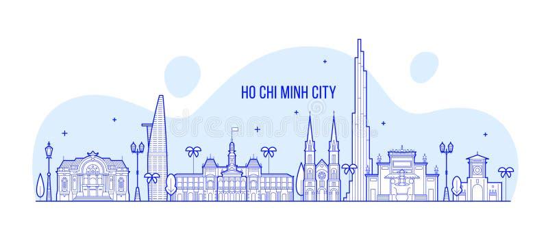 Ho Chi Minh-de vector van de stadsgebouwen van horizonvietnam royalty-vrije illustratie